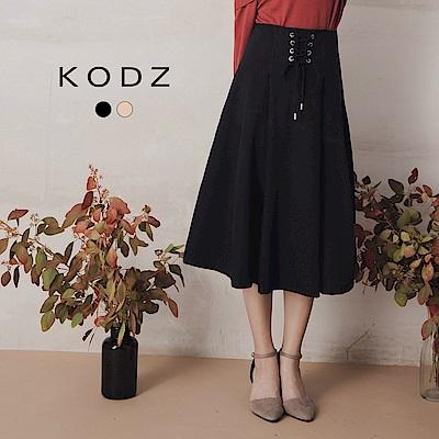 東京著衣-KODZ 復古綁帶馬甲設計大圓裙-S.M.L(共二色)
