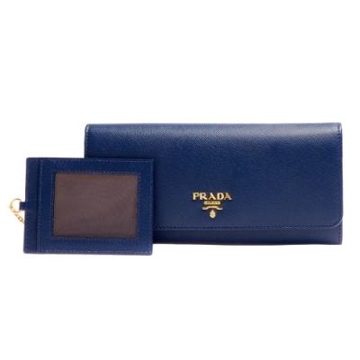 PRADA SAFFIANO系列金色浮雕LOGO防刮牛皮雙釦長夾(藏藍色-附車票夾)