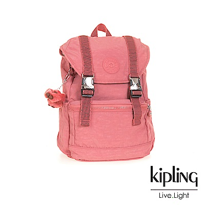 KIPLING薔薇粉雙扣後背包(小)