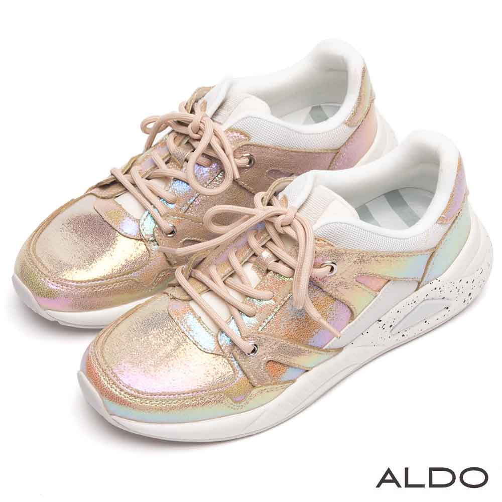 ALDO 原色霓光拼接異材質噴砂綁帶式休閒運動鞋~繽紛霓彩