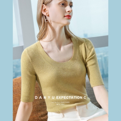 專注內搭-羊毛針織衫薄版中袖T恤大圓領低胸素色上衣(四色S-2XL可選)