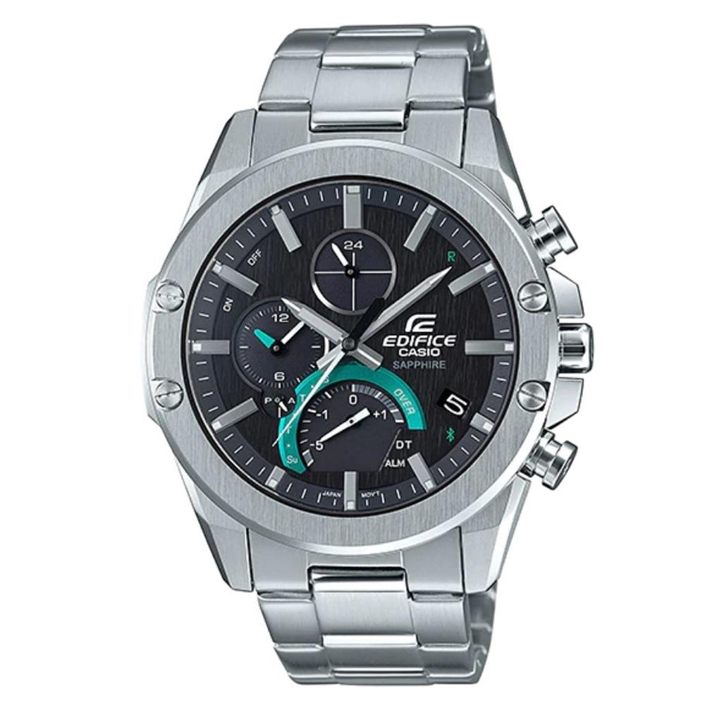 EDIFICE太陽能手機藍芽連線賽車風格不鏽鋼腕錶(EQB-1000D-1A)/46mm
