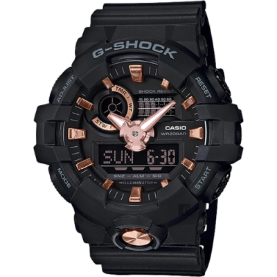 CASIO 卡西歐 G-SHOCK 黑金雙顯手錶-53.4mm(GA-710B-1A4)