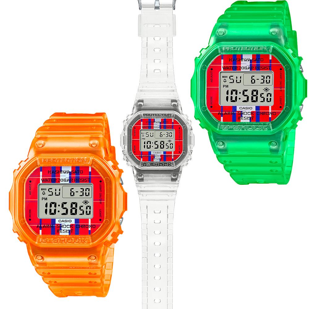 CASIO卡西歐 G-SHOCK 佐藤可士和聯名錶款 半透明 替換式錶圈/錶帶組 經典系列 DWE-5600KS-7_43.8mm