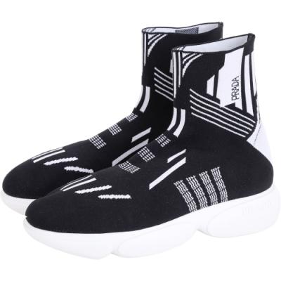 PRADA 幾何線條高筒彈性面料襪套運動鞋(女款)