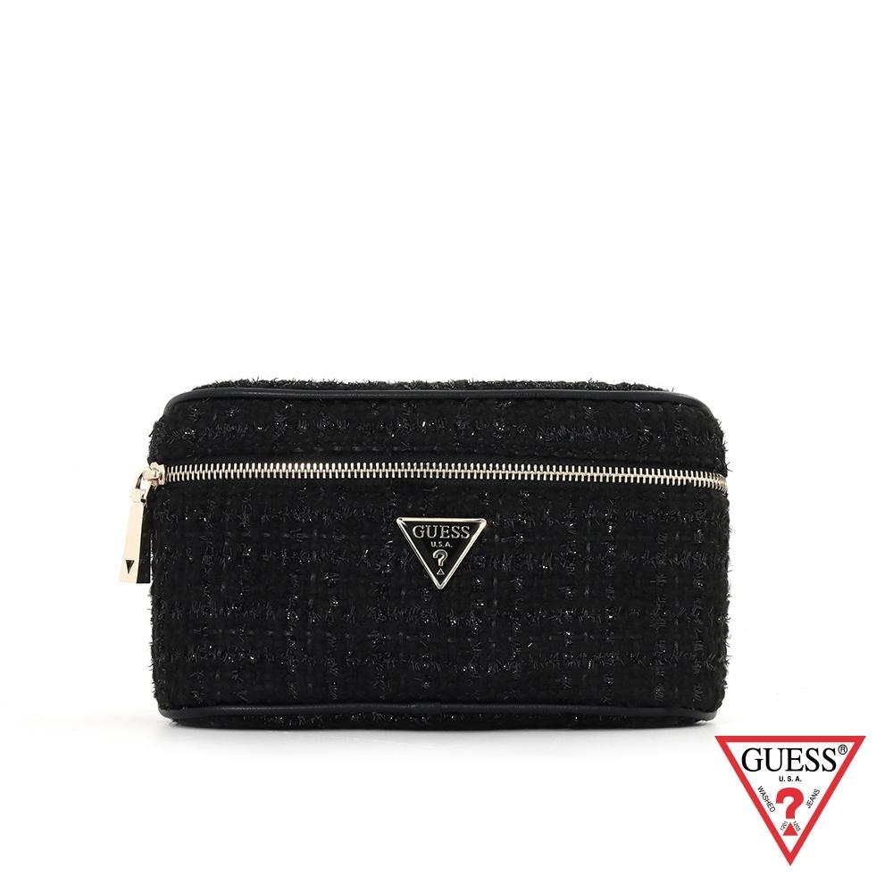 GUESS-女包-時尚毛呢編織鍊條腰包-黑 原價2490