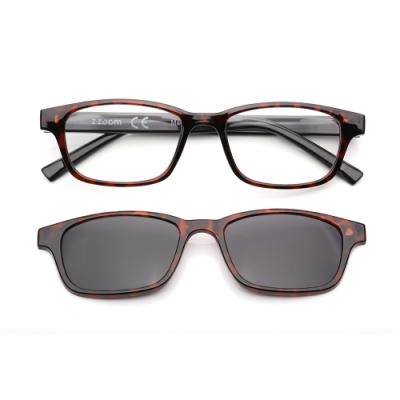 【 Z·ZOOM 】老花眼鏡 磁吸太陽眼鏡系列 時尚矩形粗框款(玳瑁色)