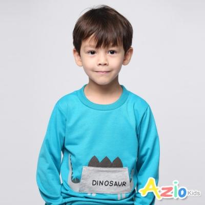 Azio Kids 男童 上衣 貼布劍龍長袖上衣(藍)