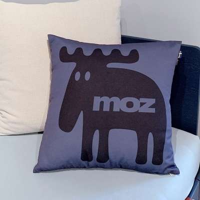 moz瑞典 北歐風雙面抱枕套(經典LOGO-藏青)45cm