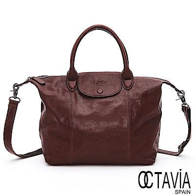 OCTAVIA 8 真皮 - 恩雅 法式羊皮水餃軟包-大- 大駝棕