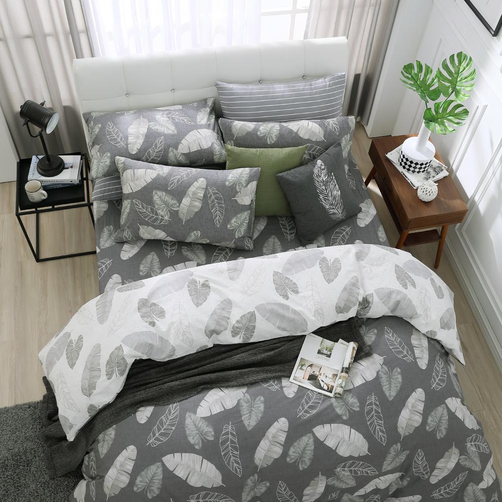 鴻宇 100%精梳棉 舞葉知秋 雙人加大四件式兩用被套床包組