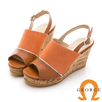 GEORGE 喬治皮鞋 夏日風情真皮拼接魚口楔型涼鞋-橘