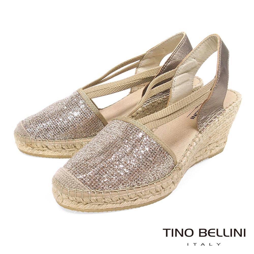 Tino Bellini 西班牙進口細緻亮片麻編楔型涼鞋 _ 玫瑰金