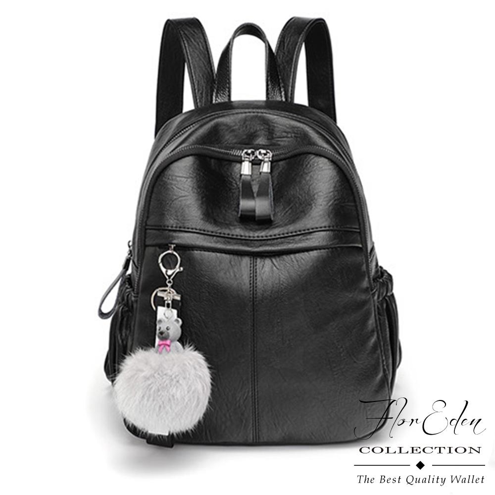 DF Flor Eden - 韓版人氣輕盈防潑水大容量牛皮雙肩後背包-共3色