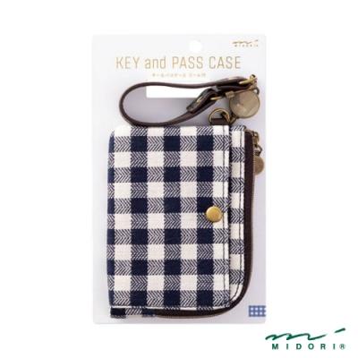 MIDORI 小物雜貨-伸縮式票夾(附鑰匙鍊)-千島紋(播州織)
