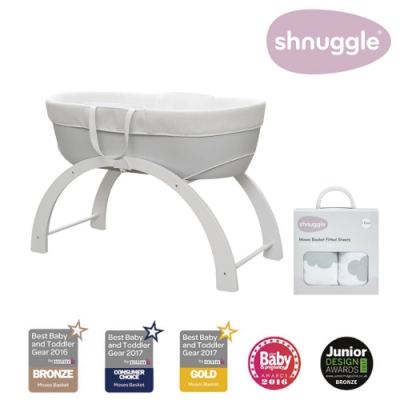 【英國Shnuggle】甜夢嬰兒床Dreami+朵朵床套(多功能移動式床邊床)