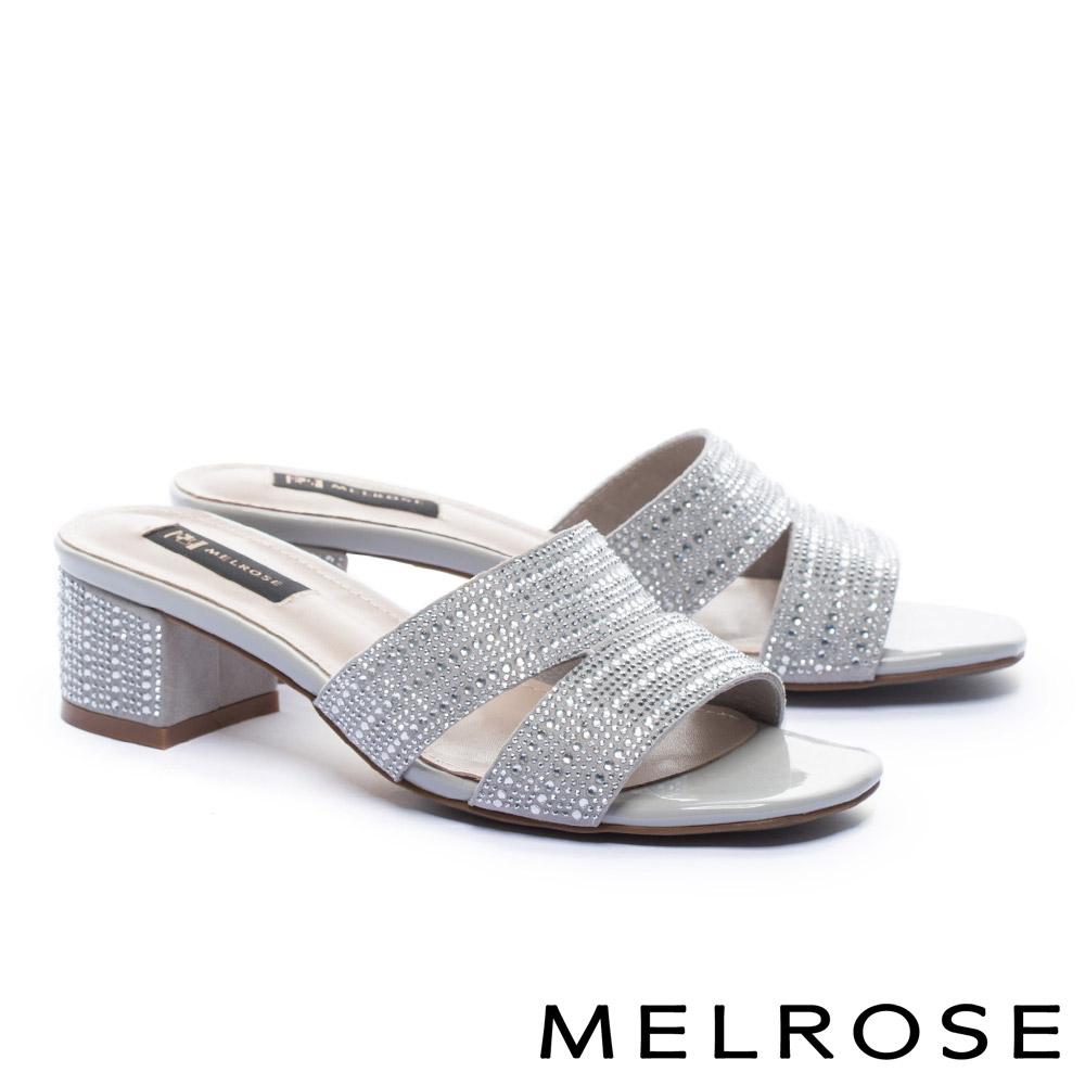 拖鞋 MELROSE 雙色排鑽羊麂皮高跟拖鞋-灰