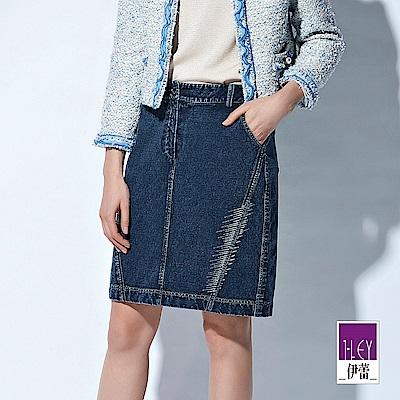 ILEY伊蕾 時尚感燙銀裝飾修身牛仔及膝裙(藍)