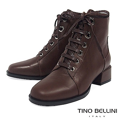 Tino Bellini真皮小方頭綁帶中跟短靴_咖