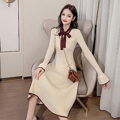 DABI 韓國風名媛顯瘦蝴蝶結系帶氣質針織長袖洋裝