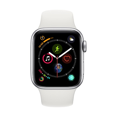 Apple Watch Series 4(GPS+網路)40mm銀色鋁金屬錶殼+白色錶帶