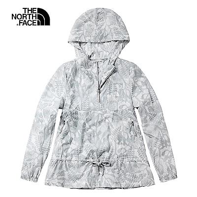 The North Face北面女款白色印花防潑水可收納式風衣外套|3V4Z9VT