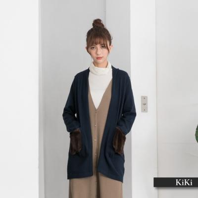 【KiKi】短毛口袋設計長版-針織衫(三色/版型寬鬆)