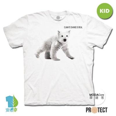 摩達客-預購-美國The Mountain保育系列小北極熊 兒童幼兒 白色純棉短袖T恤
