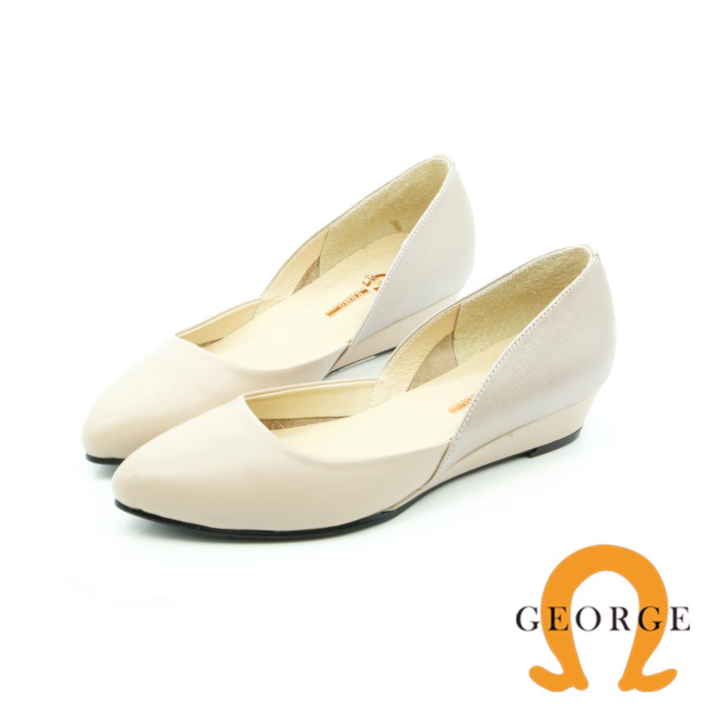 【GEORGE 喬治皮鞋】都會休閒 素面V型尖頭平底鞋-白