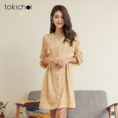 東京著衣 法式田園排釦V領縮袖綁帶格紋洋裝(共二色)