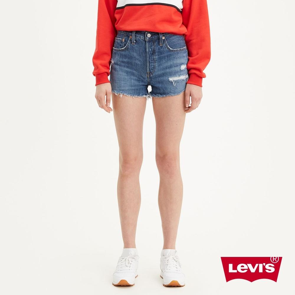 Levis 女款 501中腰排釦牛仔短褲 不規則抓鬚破壞 無彈性