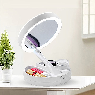 iSFun LED化妝鏡圓型雙面摺疊收納桌上鏡二代USB供電款