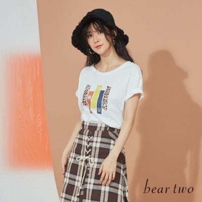 beartwo-印花造型下擺上衣-白
