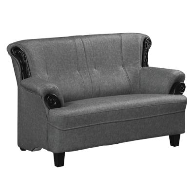 綠活居 路瑟德時尚灰布紋皮革二人座沙發椅-142x86x90cm免組