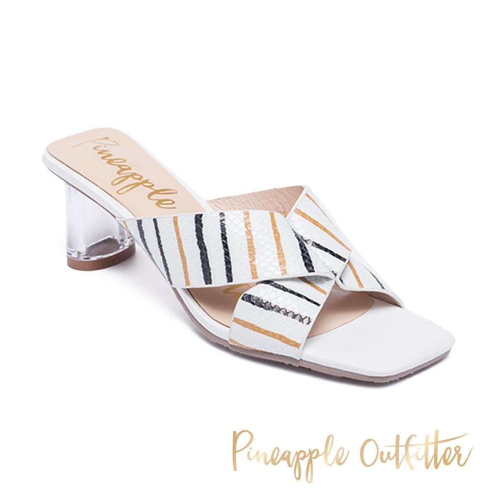 Pineapple Outfitter-REIKA 真皮交叉條紋寬帶透明中跟涼鞋-白色