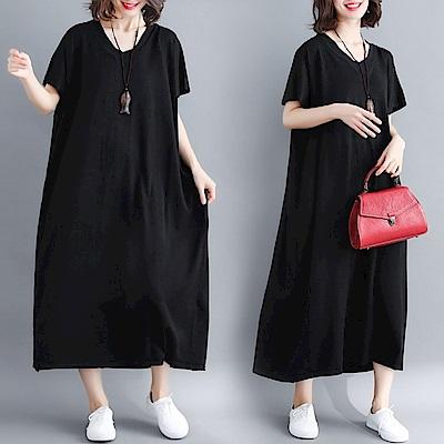 La Belleza素色圓領棉麻寬鬆長版薄料洋裝