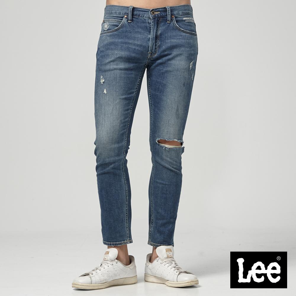 Lee 低腰合身小直筒牛仔褲-中藍