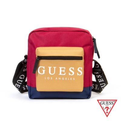 GUESS-男包-時尚撞色經典LOGO斜背包-紅