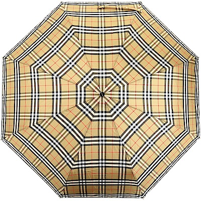 BURBERRY Vintage 牛皮提把格紋折疊傘(古典黃x石灰岩色)