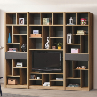 Boden-帕爾9.2尺開放式加高電視櫃組合/書櫃/收納櫃/置物櫃-276x40x237cm