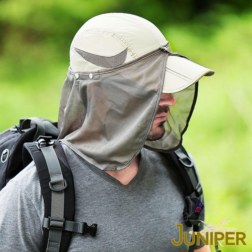 JUNIPER 抗紫外線UV防潑水可收納釣魚運動防曬帽+披風