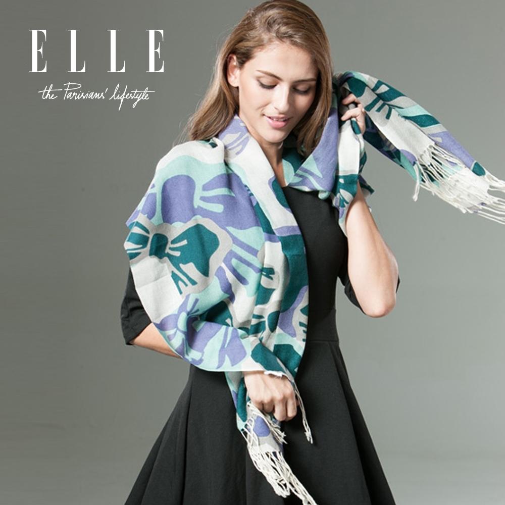 ELLE羊毛圍巾秋冬百搭花卉圖案流蘇圍巾披肩兩用長款