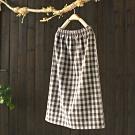 軟糯舒適格紋鬆緊腰呢子中長裙寬鬆毛呢裙-設計所在