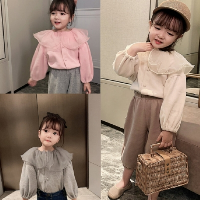 小衣衫童裝 秋冬女童網紗荷葉領開衫外套上衣1090925