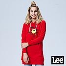 Lee LEE X SMILEY聯名長版連帽長袖厚TEE-紅色