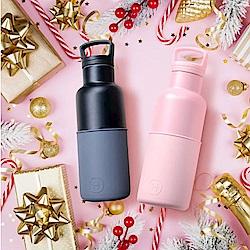 美國HYDY CinCin Déco雙杯保溫瓶組480ML-太妃玫瑰粉+鐵灰黑