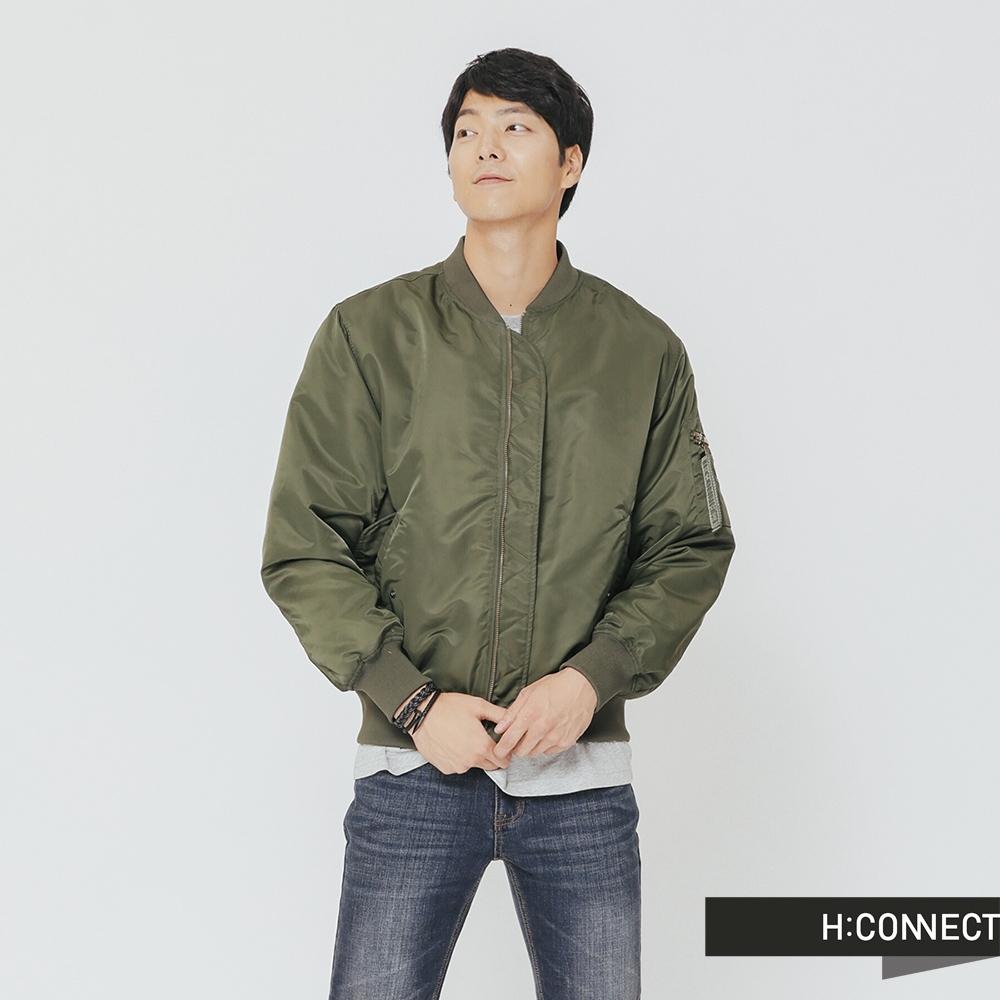 H:CONNECT 韓國品牌 男裝-後背圖像飛行外套-綠(快)
