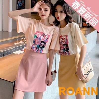 圓領小丑T恤+包臀短裙兩件套 (共二色)-ROANN