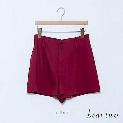 beartwo 高腰排釦素面A字短褲(深紅)
