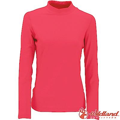 Wildland 荒野 W2651-22蜜桃紅 女遠紅外線保暖中領衛生衣